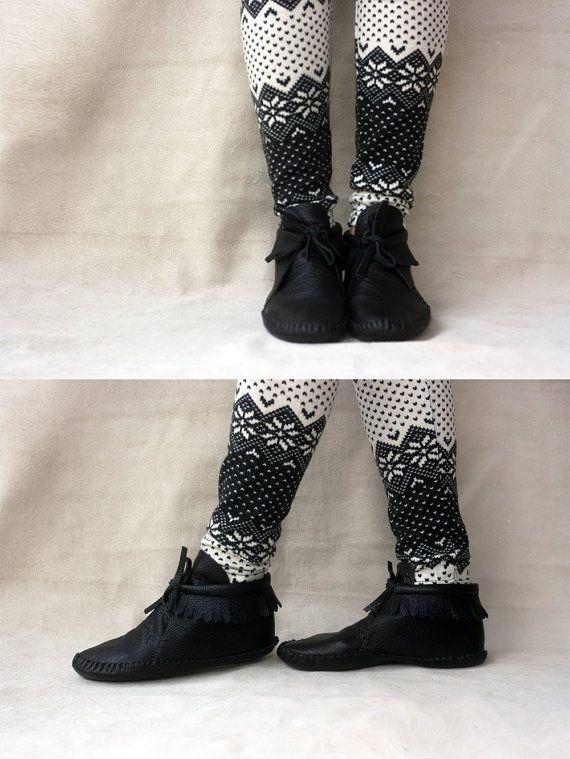 Black Lupus - Handmade Leather flat boho shoes - CUSTOM FIT. $175.00, via Etsy.