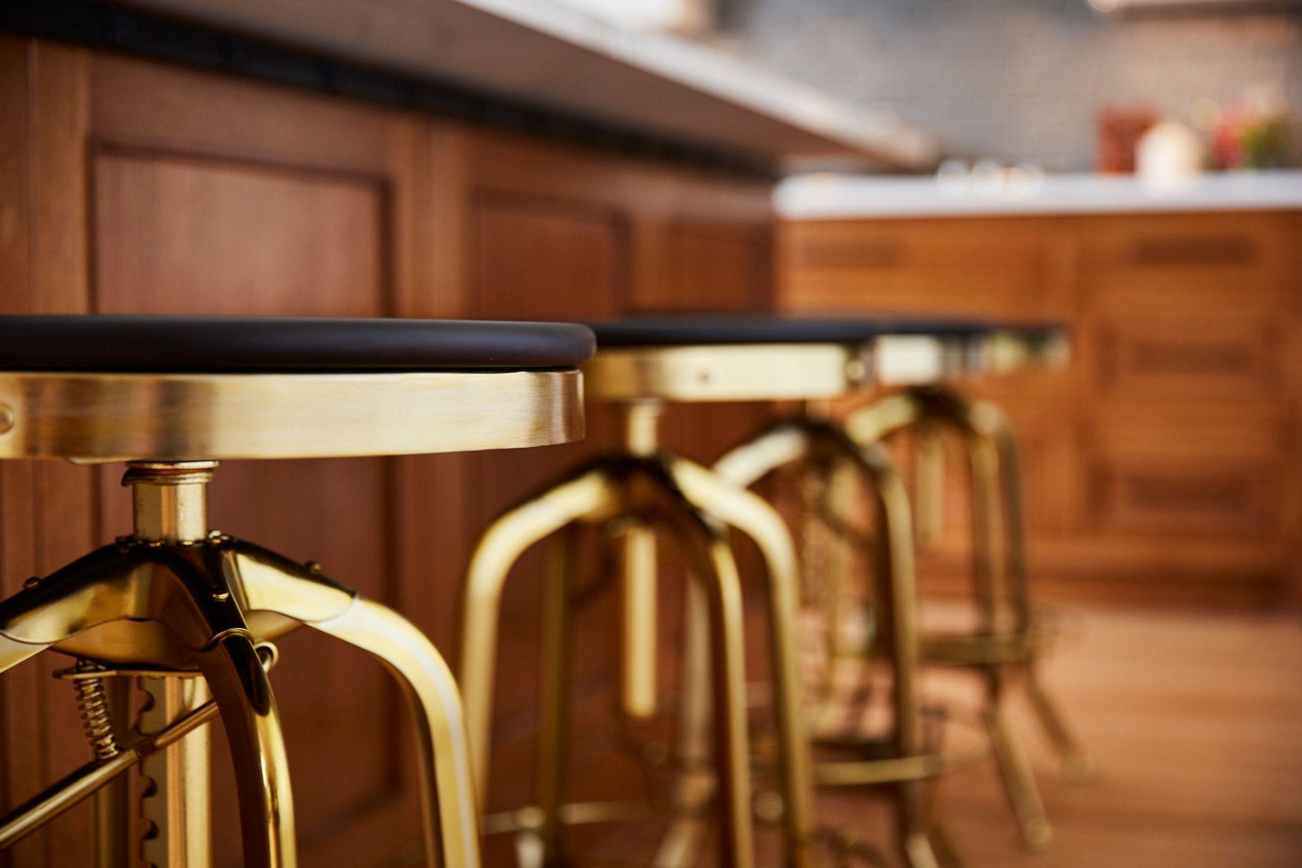 Gold Kitchen Barstools in 9   Kitchen bar stools, Dream kitchen ...