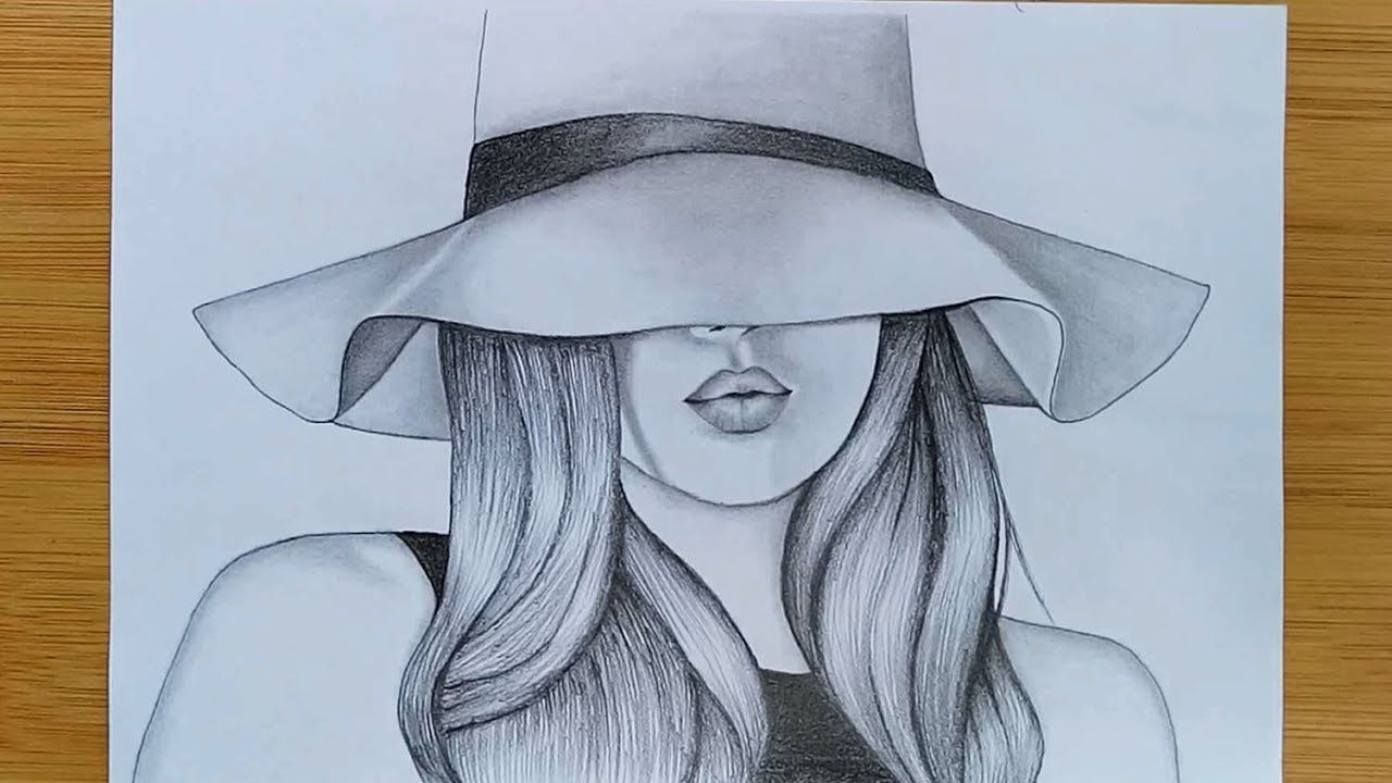 How To Draw A Girl With Hat Pencil Sketch Youtube Girl