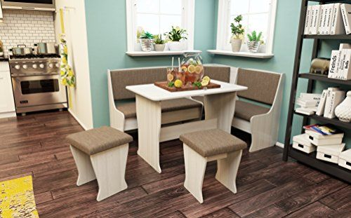 Texas 4 Piece Kitchen Nook Dining Table Set L Shaped Storage Bench