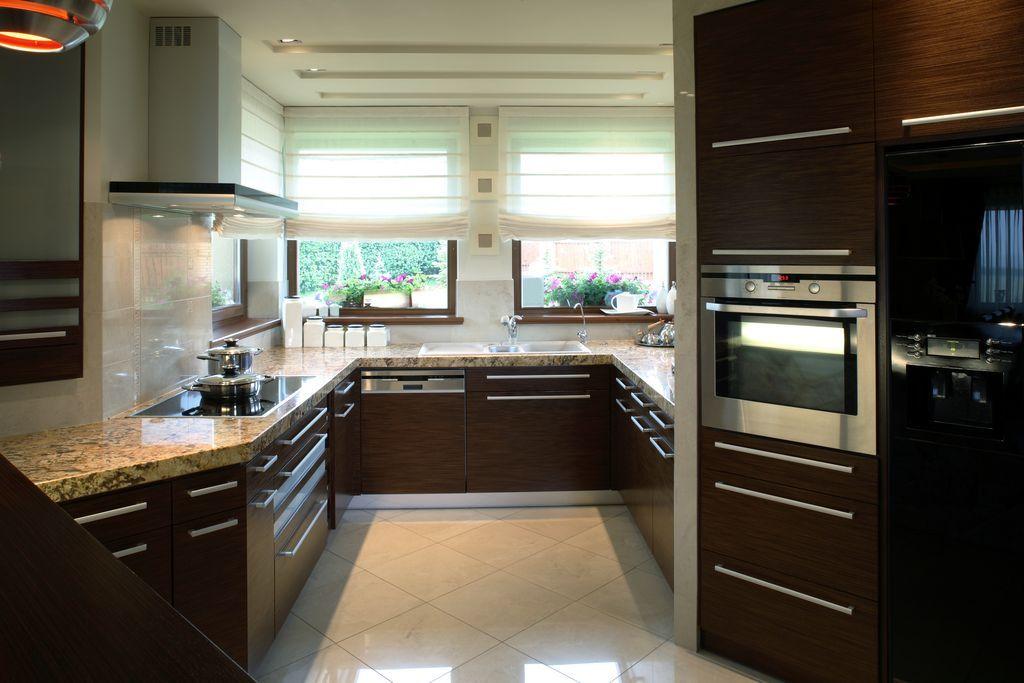 Modern Kitchen With Pendant Light Limestone Tile Floors Flush Beauteous European Kitchen Designs Design Inspiration