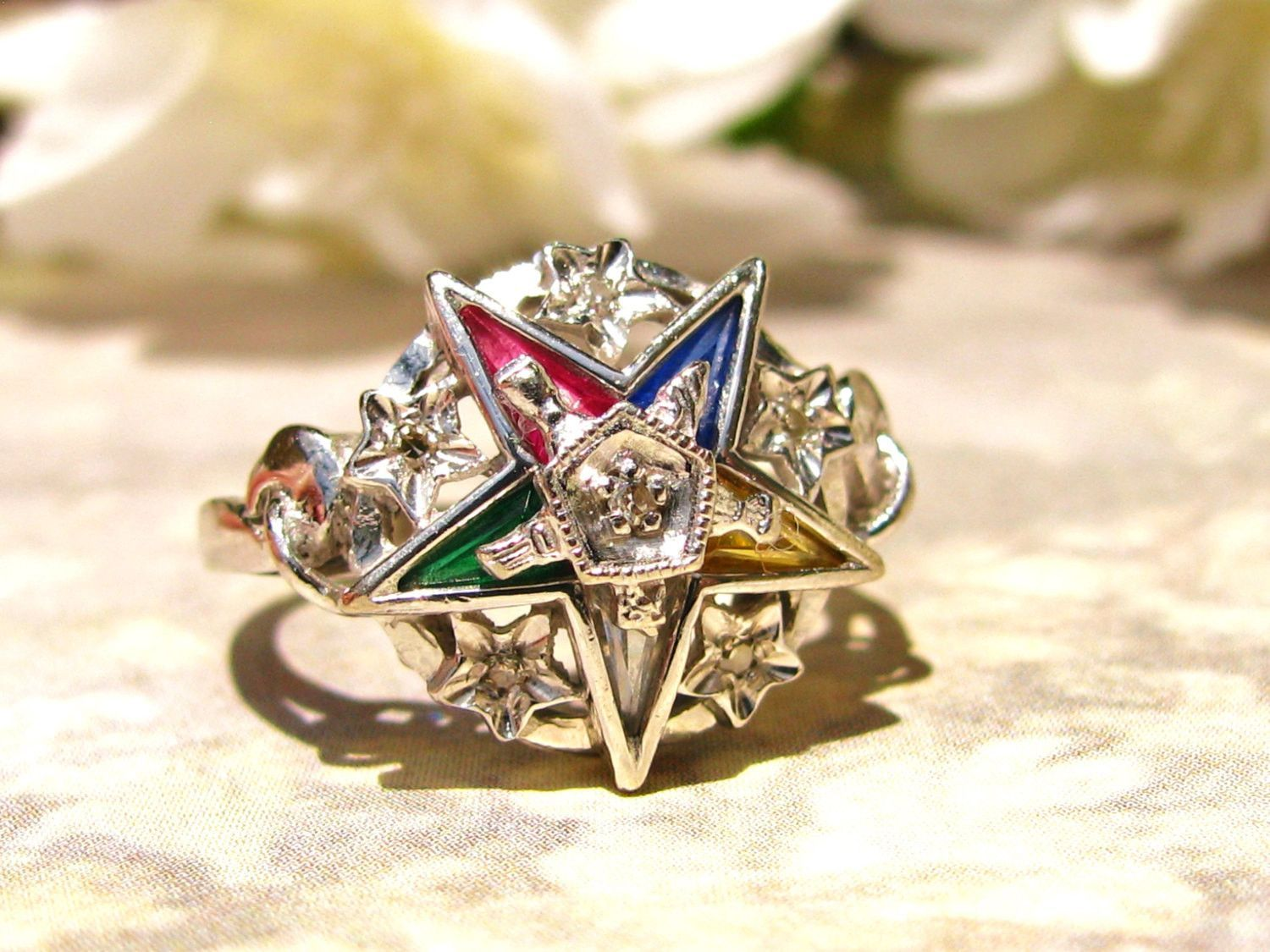 Vintage Order Of The Eastern Star Diamond Ring Ladies Masonic Ring Synthetic Multicolored Stones 10k Whit Ladies Diamond Rings White Gold Diamonds Diamond Star