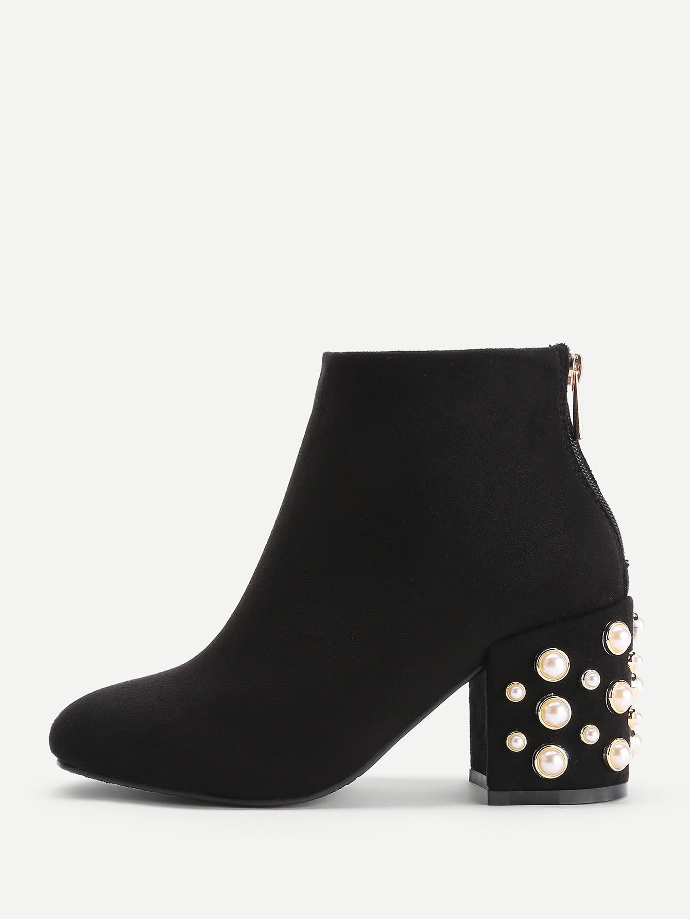 Shop Faux Pearl Back Zipper Ankle Boots online. SheIn offers Faux Pearl  Back Zipper Ankle Boots & more to fit your fashionable needs.