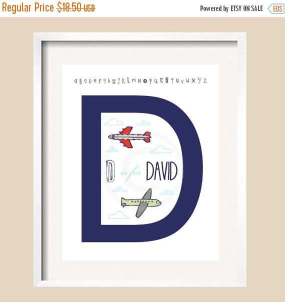 "ON SALE Airplane Art Letter Initial Print - UNFRAMED 8x10 in navy, red, aqua , green and tan, airplanes, for Land of Nod ""Come fly with me"""