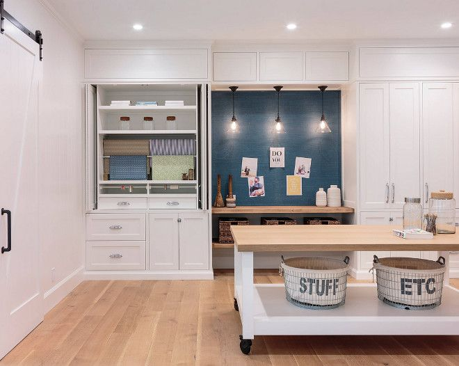 Craftroom Modern Farmhouse Craftroom With Inset Cabinets Wrapping Station And A Large Island