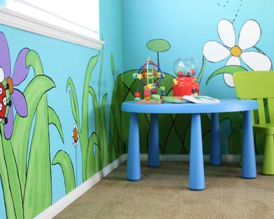 Colorful Nursery Decorating Ideas Wall Painting Bright