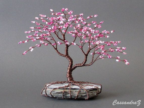Asymmetrical Cherry Blossom Beaded Bonsai Mini Wire Tree Sculpture Spring Colors Made To Order Custom Wire Tree Sculpture Wire Trees Wire Tree