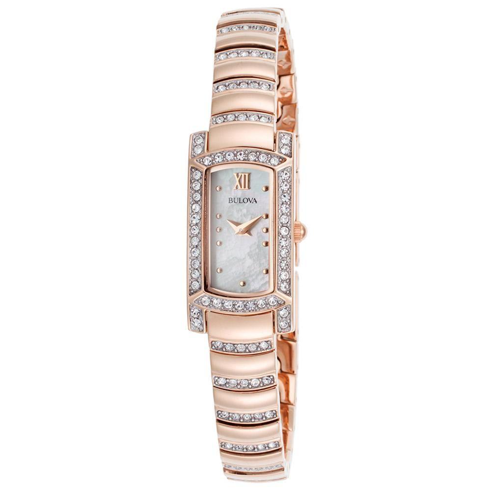 Bulova l womenus mop dial crystal accented rose gold steel