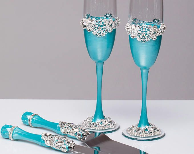Wedding Gles And Cake Server Set Knife Silver Blue Tiffany Bride Groom
