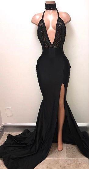 1f29884613 Black Pluning Neck Halter Prom Dress With Side Split on Luulla ...