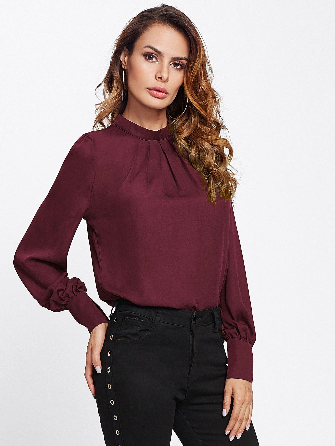 b753ffbb04a Classy Plain Top Regular Fit Stand Collar Long Sleeve Puff Sleeve ...