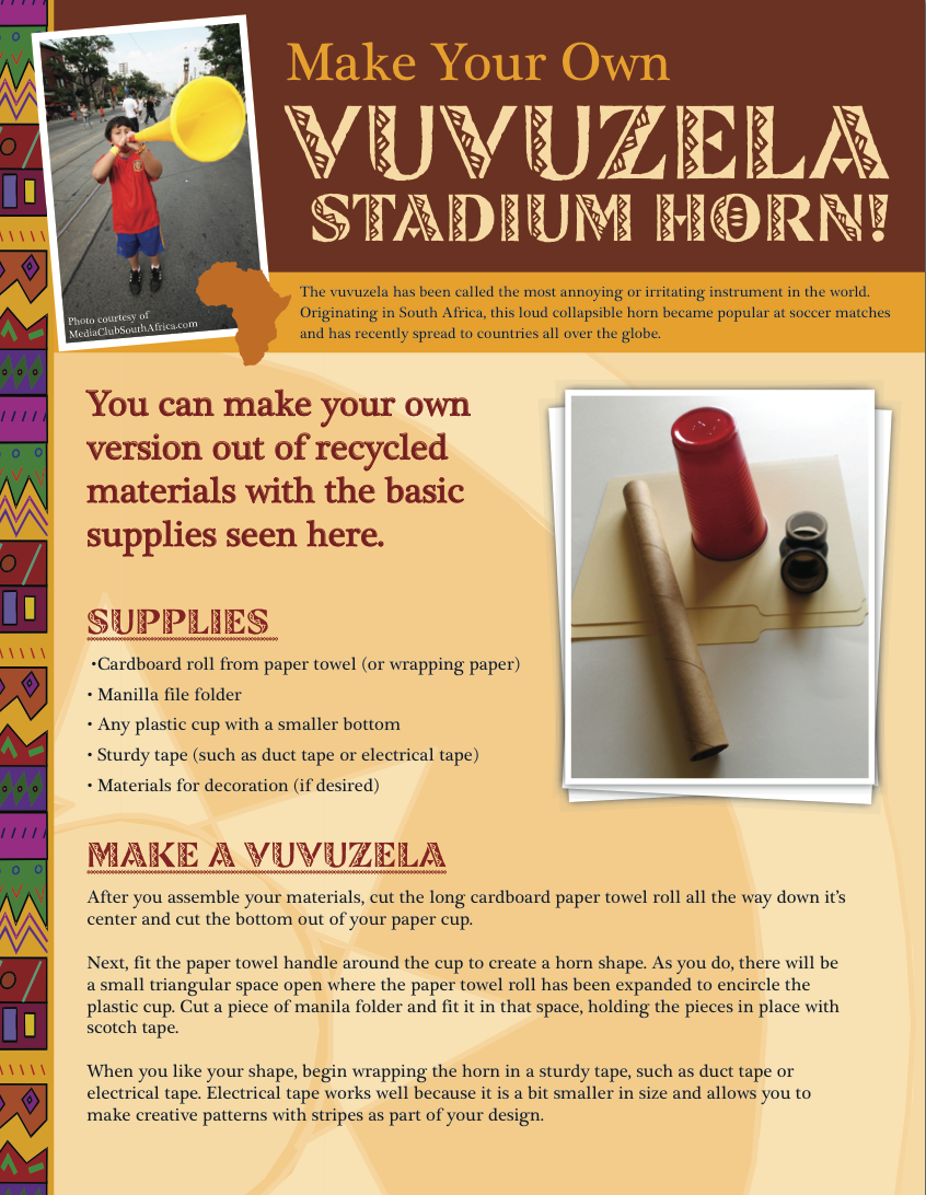 Make Your Own Vuvuzela Stadium Horn For World Cup Or To Cheer On Your Favorite Sports Team Craft Activ Music Activities For Kids Music For Kids African Crafts