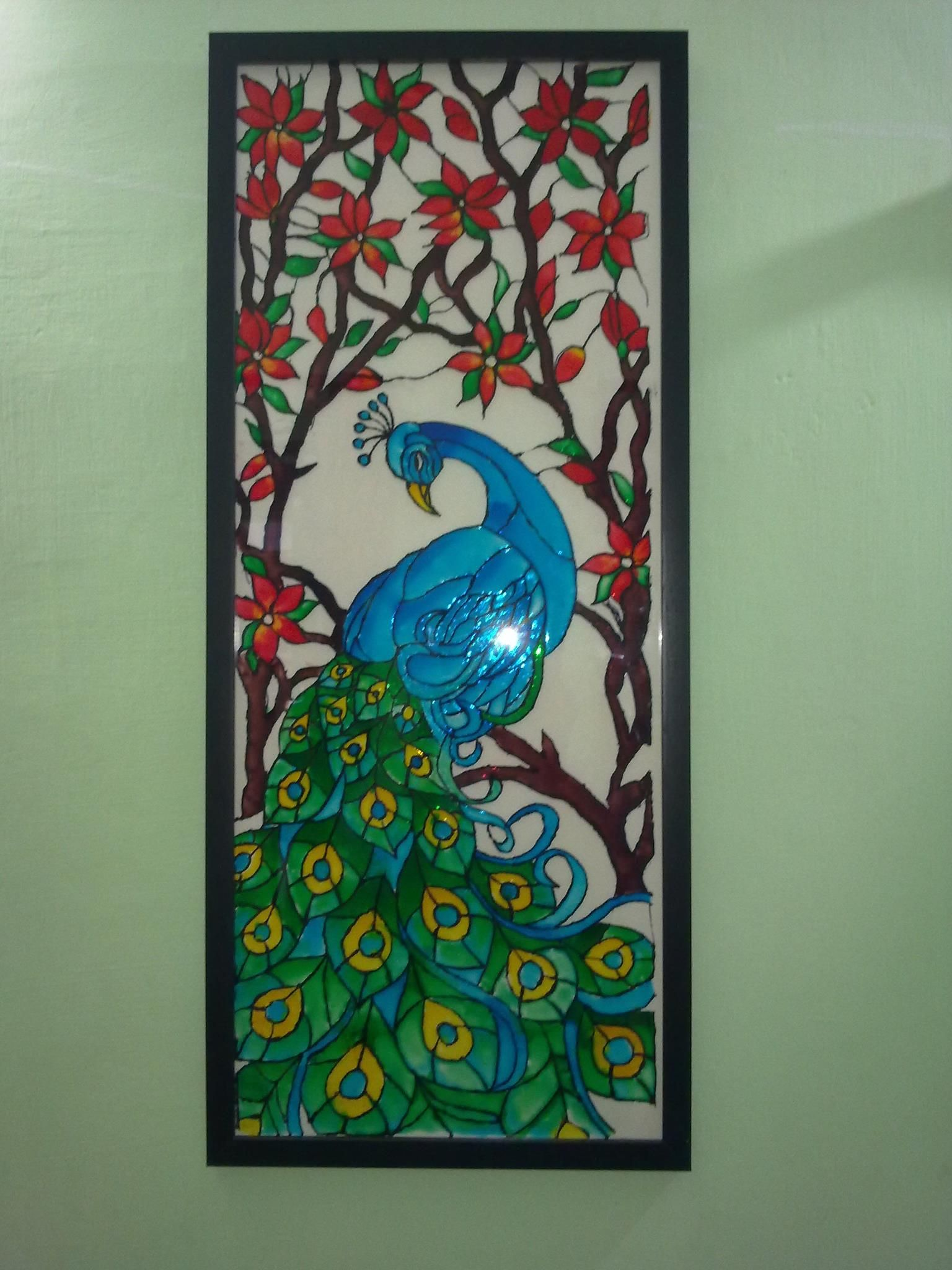A glass painting of a peacock using fevicryl hobby ideas for Can i paint glass with acrylic paint