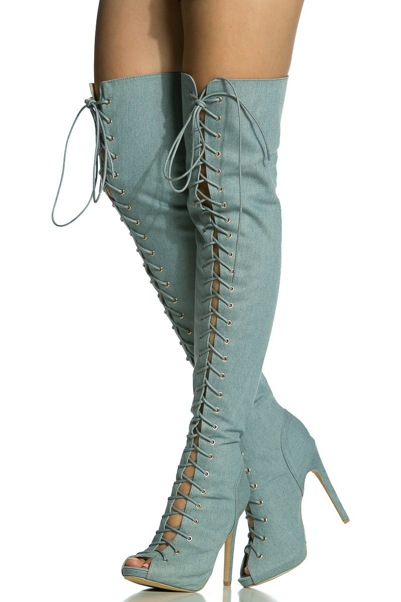 Denim Lace Up Open Toe Thigh High Boots @ Cicihot Boots Catalog ...