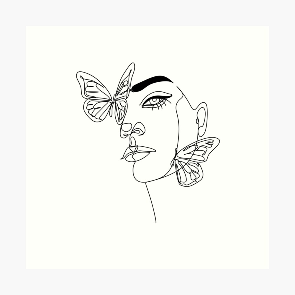 Abstract Line Illustration Minimal Face Drawing With Butterfly In Lines Printable Fashion Sketch Dra Outline Art Face Drawing Art Drawings Sketches Creative