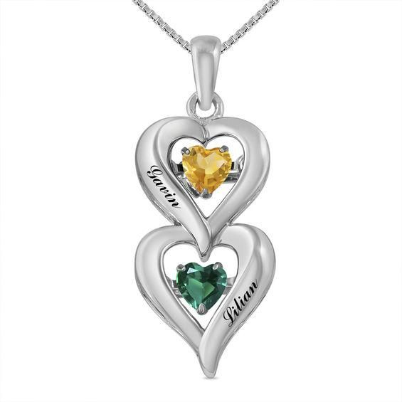 Zales Couples Birthstone Tilted Double Heart Outline Pendant (2 Stones and Names) 7764sd4UJ
