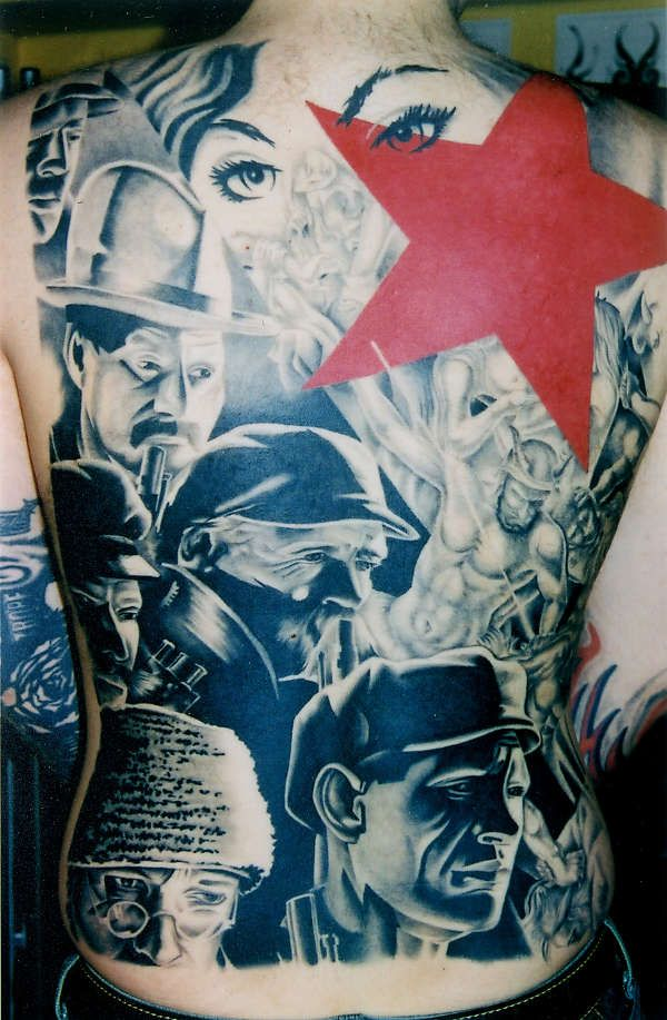 Soviet INSANITY!  Dave Cummings at PSC Tattoos, Montreal.  Probably one of my all-time favorite tattoos, the execution here is absolutely phenomenal.