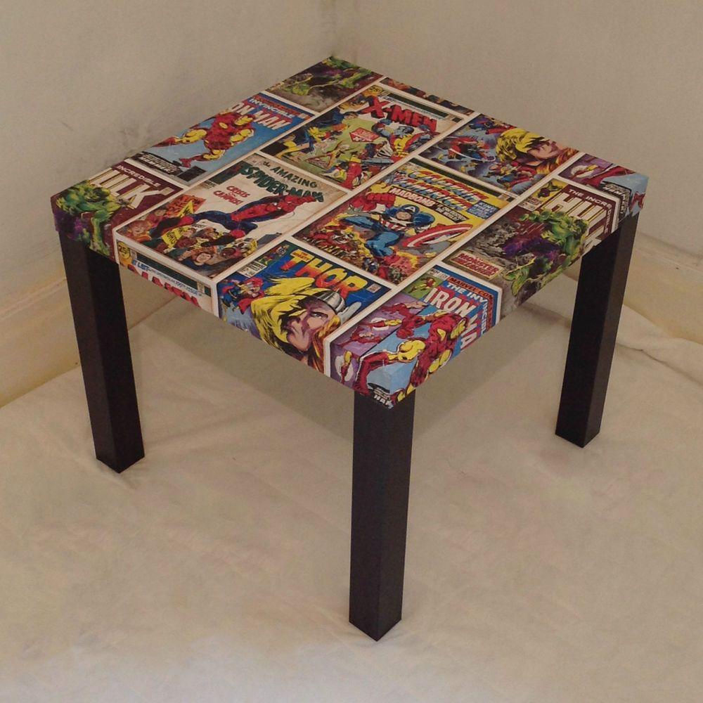 decoupage ideas for furniture. Black Decoupage Full Print Marvel Table Superhero Fan Children S Bedroom, Ideas For Furniture