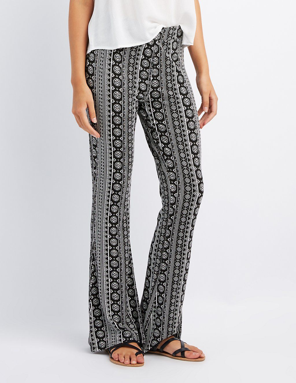 9190578fcafb Printed Flare Pants | Charlotte Russe | Palazzo | Pants, Flare pants ...