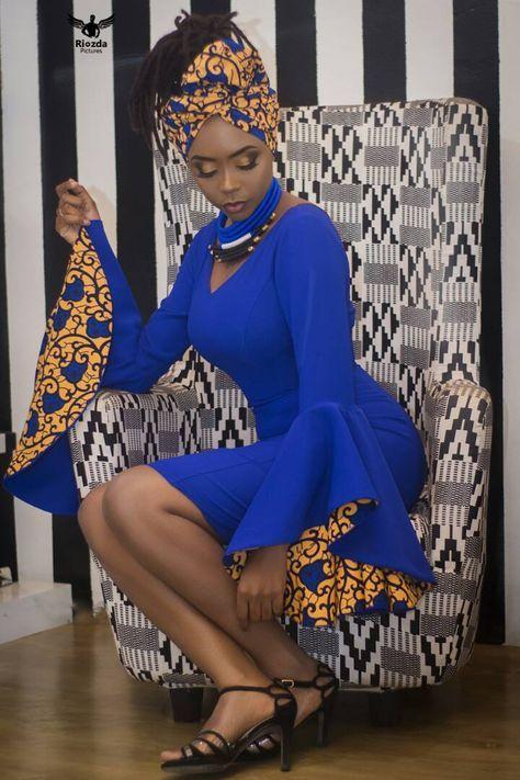 Robe Courte Et Pres Du Corps Avec Des Manches Evases Double En Pagne Le Modele Porte La Ro African Party Dresses African Fashion Women African Clothing Styles