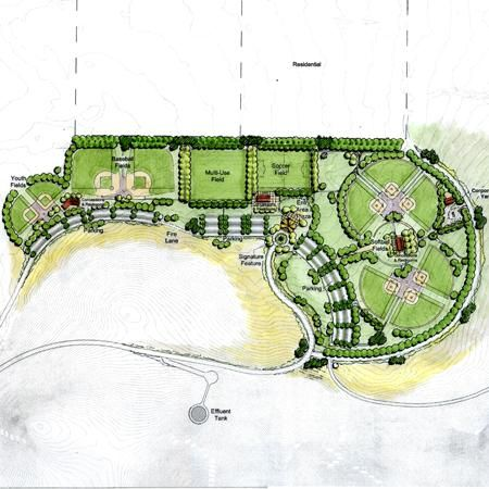 Illustrative park plan architectural illustrations for The landscape design site