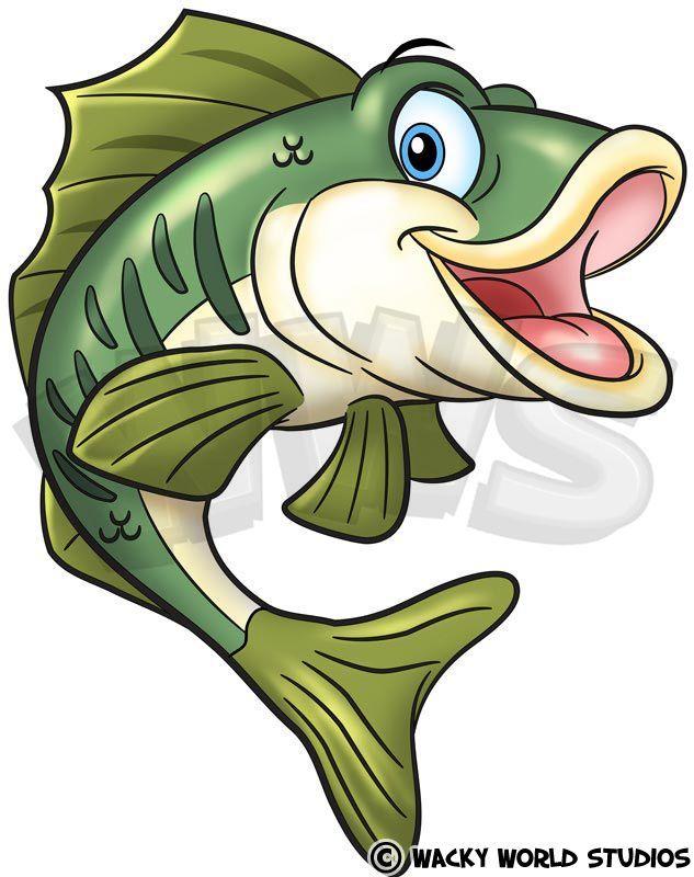 Cartoon Bass Fish Drawings Cartoon Fish Fish Art
