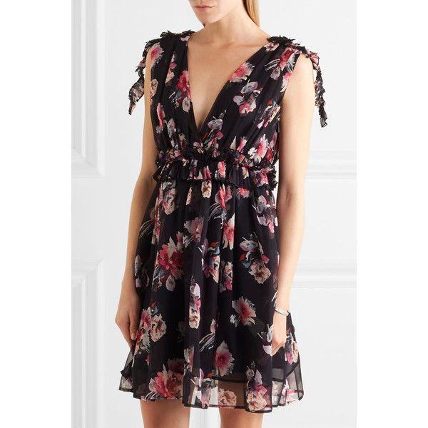 Msgm Ruffled Fl Print Silk Chiffon Mini Dress 805 Liked On
