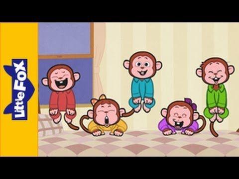 Five Little Monkeys Jumping On The Bed Nursery Rhymes By Little Fox Youtube Nursery Rhymes Preschool Circle Time Five Little Monkeys