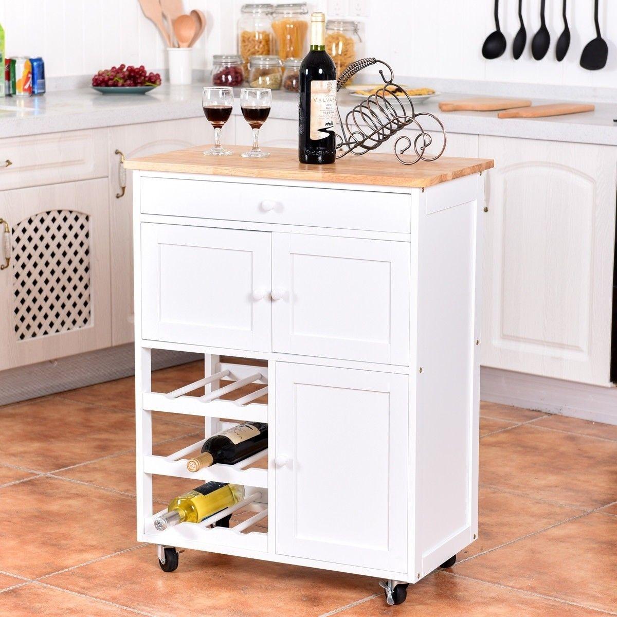 Modern Rolling Storage Kitchen Cart with Drawer $11.11 + Free