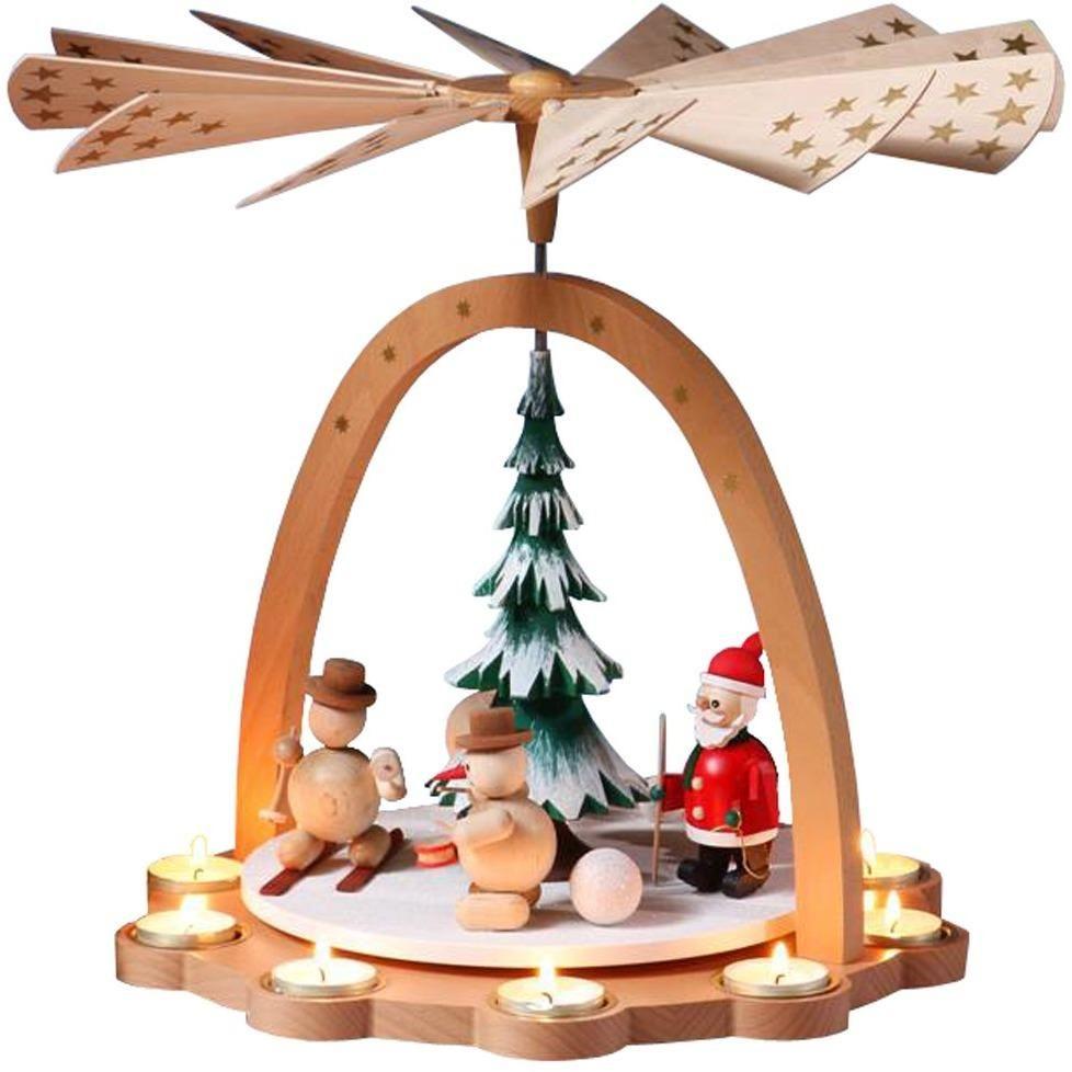 Snowman  and Rabbit Wooden Christmas Pyramid Tealight Windmill