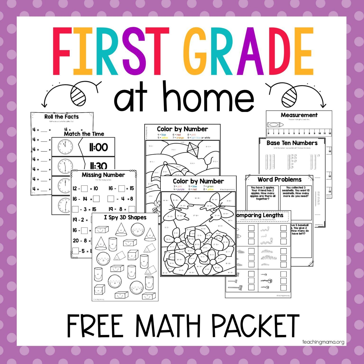 First Grade At Home Math Packet In