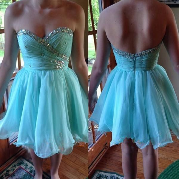 Chiffon Blue Sweetheart Knee Length Homecoming Dresses with Beaded ...