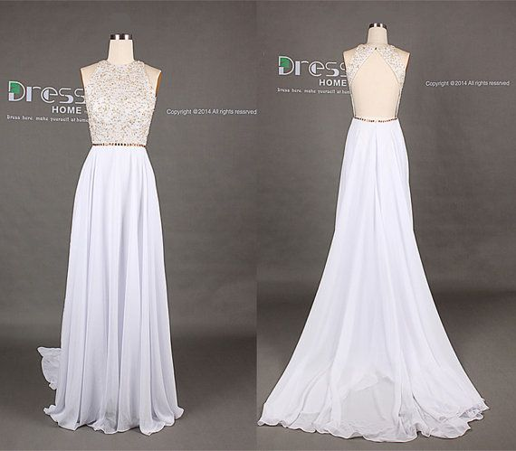 Sweet 16 White High Neck Gold Beading Open Back A Line Long Flowy ...