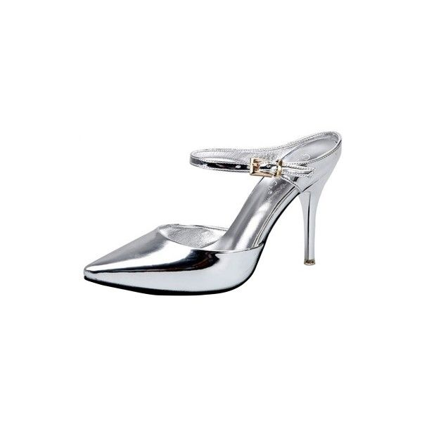 Pointed Toe Buckle Strap Stiletto Heels Pumps ($39) ❤ liked on Polyvore featuring shoes, pumps, pointy-toe pumps, pointy toe shoes, summer footwear, heels stilettos and pointy toe stiletto pumps