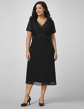 Short-sleeve dress features a lovely, floral lace design, with sequin and bead embellishments for added sparkle. Stretch, empire waistband comfortable fits your figure. Overlapping V-neckline on front, with a V-neck cut on the back that is covered with see-through, floral lace fabric. Catherines plus size dresses are expertly designed to flatter your figure. catherines.com