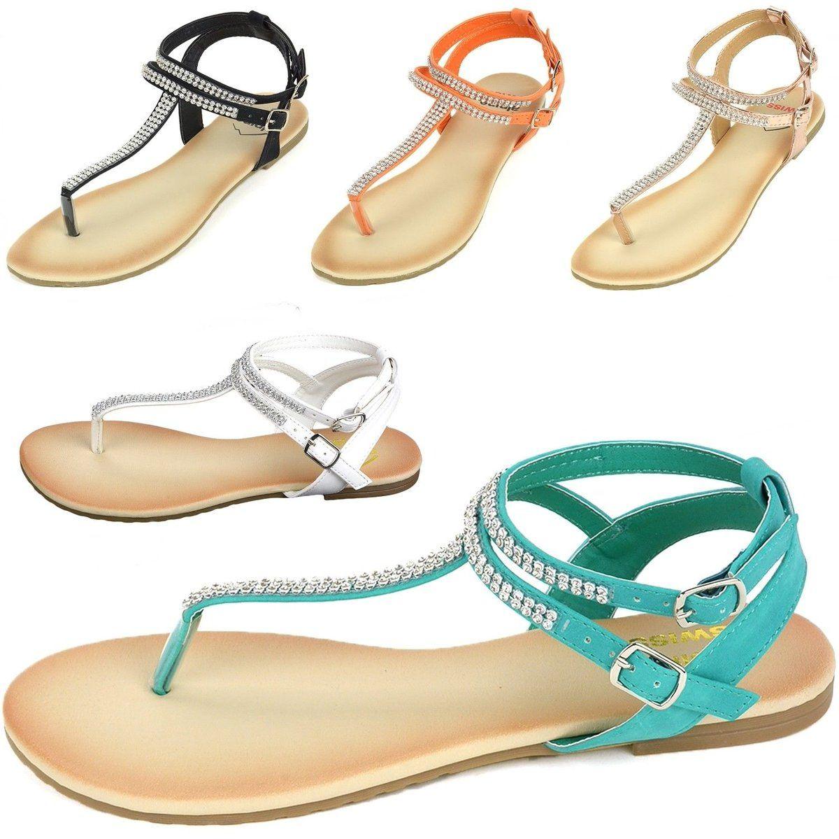 6ce2f308c9ee Details about Alpine Swiss Women s Gladiator Sandals T-Strap ...