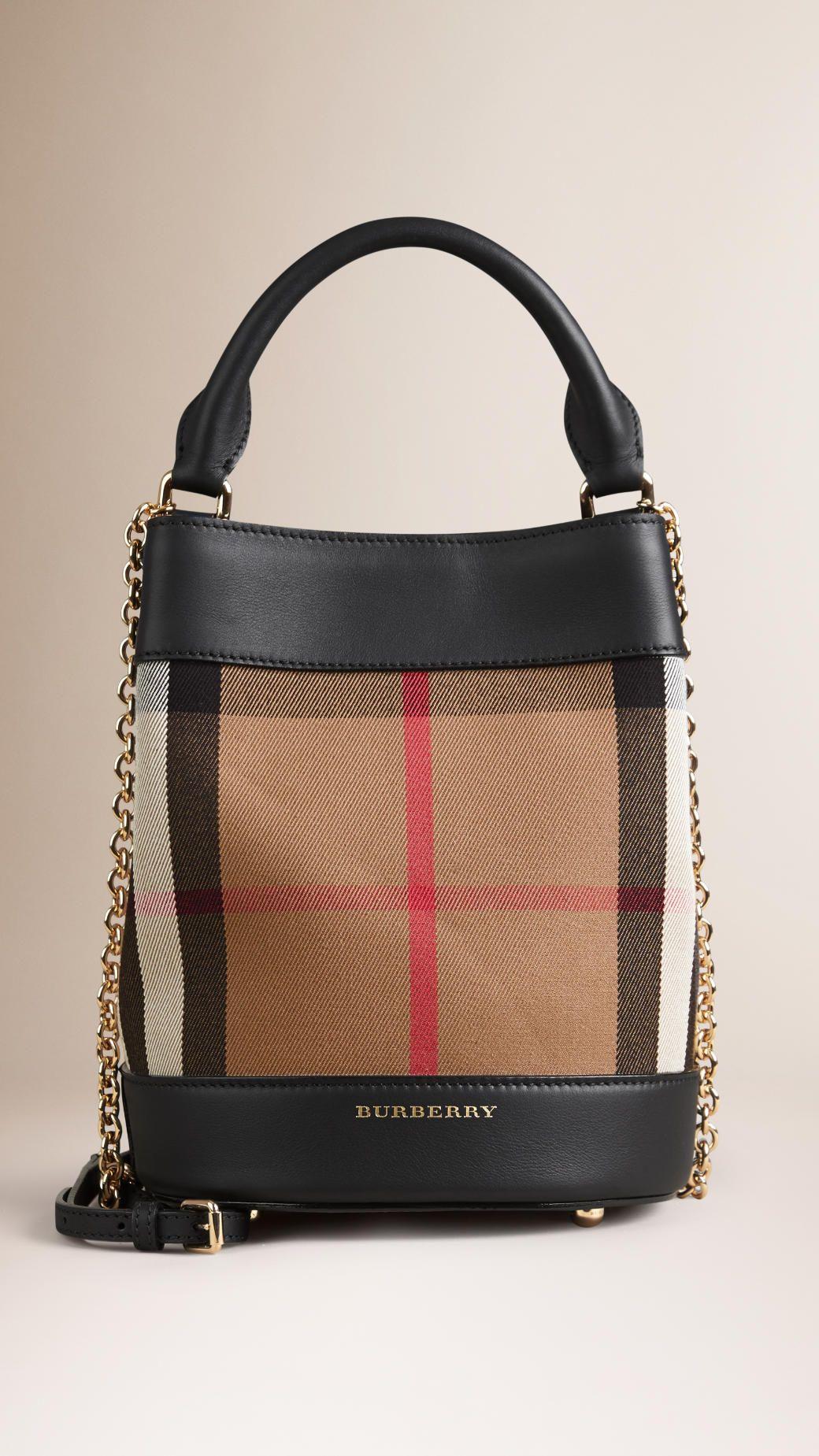 Petit sac Burberry Bucket avec motif Horseferry check et cuir Noir   Burberry