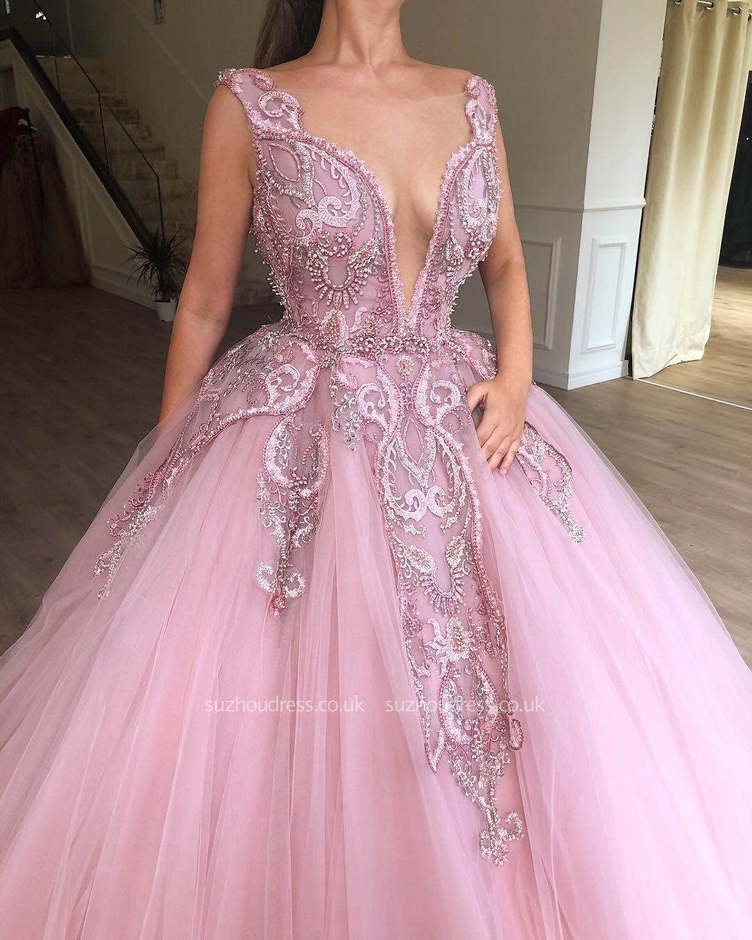 Beautiful Pink Puffy Deep V Neck Sleeveless Applique Evening Dresses Online New Styles Pink Ball Gown Ball Gowns Prom Dresses Lace
