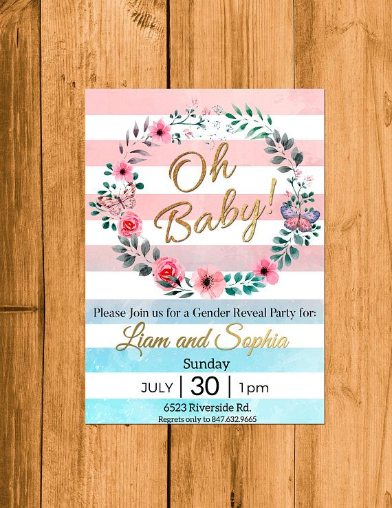 Oh Baby Gender Reveal Invitation Gender Reveal Ideas Pink And