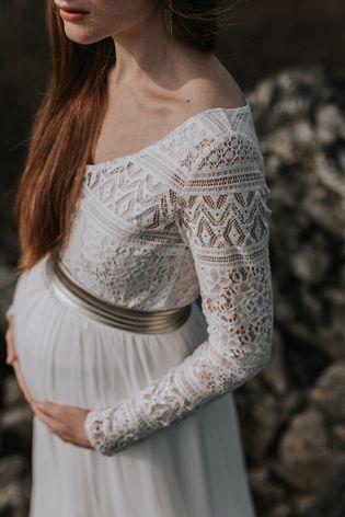 hochzeitskleidzweiteiler für schwangere mit elastischem bund  schwangere braut brautkleid
