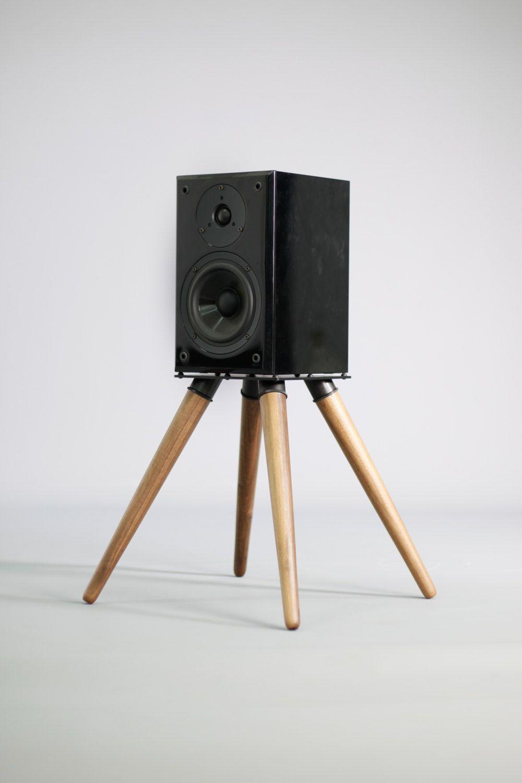 Audio speaker stand , iron and wood (2 units)   Audio ...