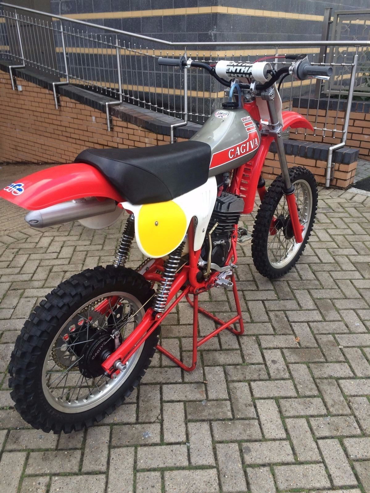 Here we have a Cagiva 125 WRX 1981 air cooled twinshock