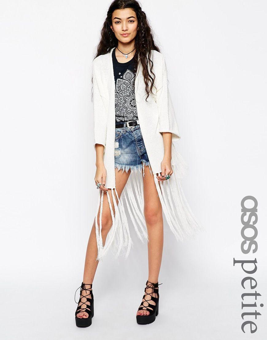 ASOS PETITE Slub Knit Kimono Cardigan With Fringing | Her closet ...
