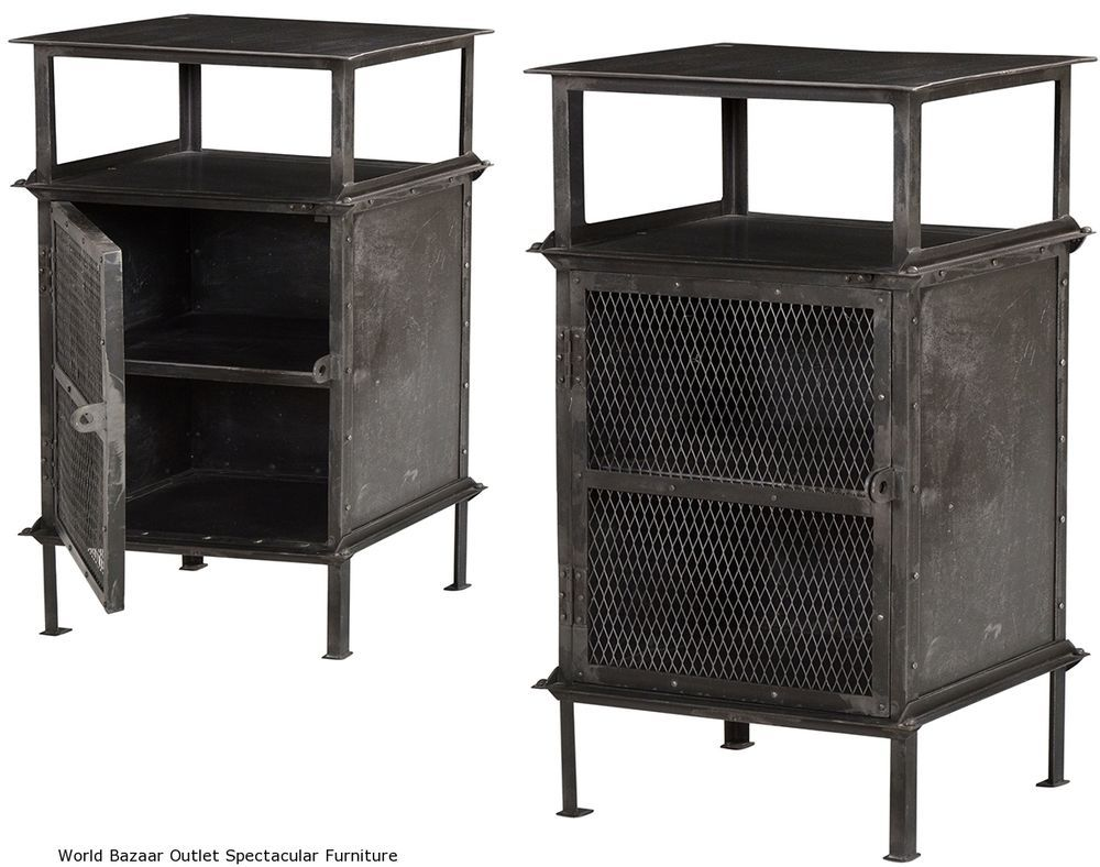 "Set Of Two 26"" T Night Stand Side Table 1 Door Industrial"