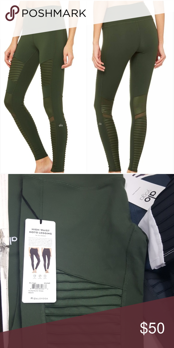 e8e796a0c23087 alo H-W moto legging moto style Humter green color ALO Yoga Pants Leggings