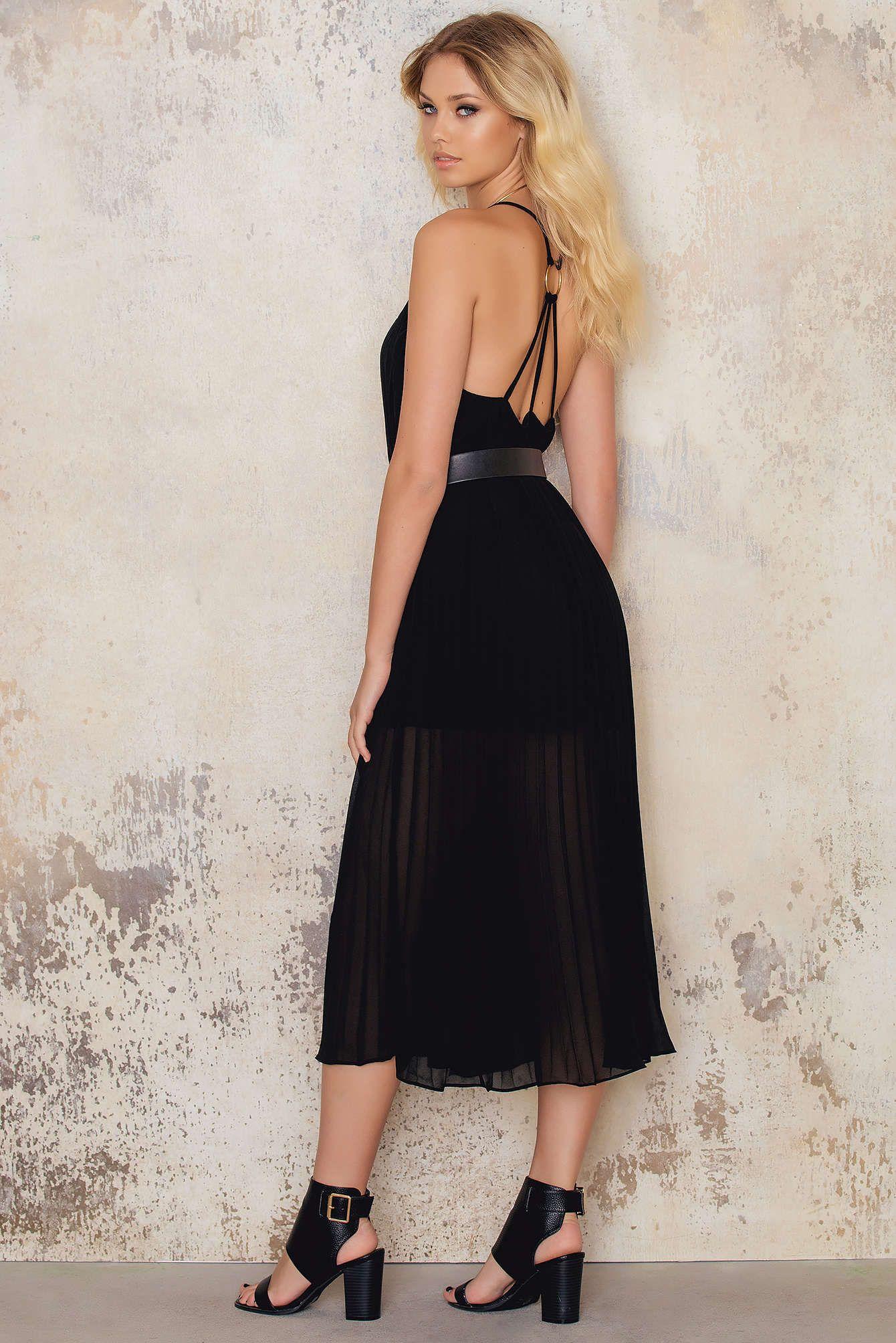 Dress for success The Pleated Chiffon Strap Midi Dress by NAKD