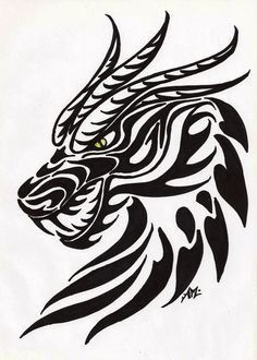 Love the detail... Tribal Dragon head tattoo....