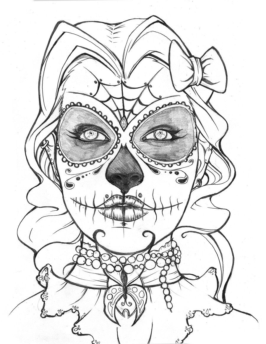 black and white dia de los muertos sugar skull coloring page