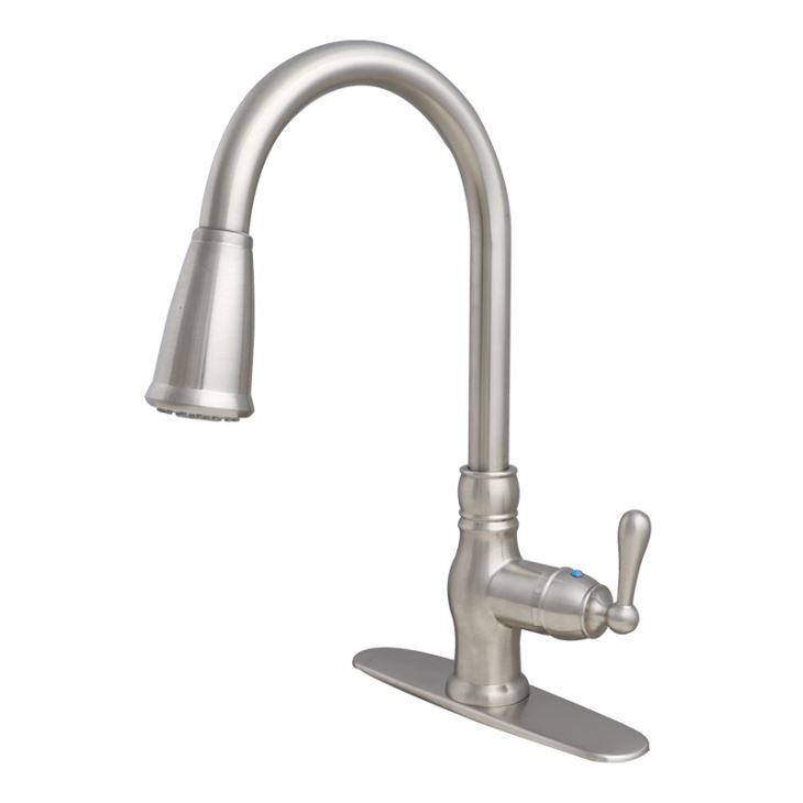 Contemporary Pull Down Spray Single Hole Single Lever Polished Brass