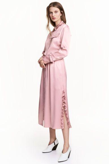 프릴 디테일 셔츠 드레스 - 라이트 핑크 - Ladies | H&M KR
